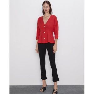 Zara Red/Orange Blouse With Gold Buttons